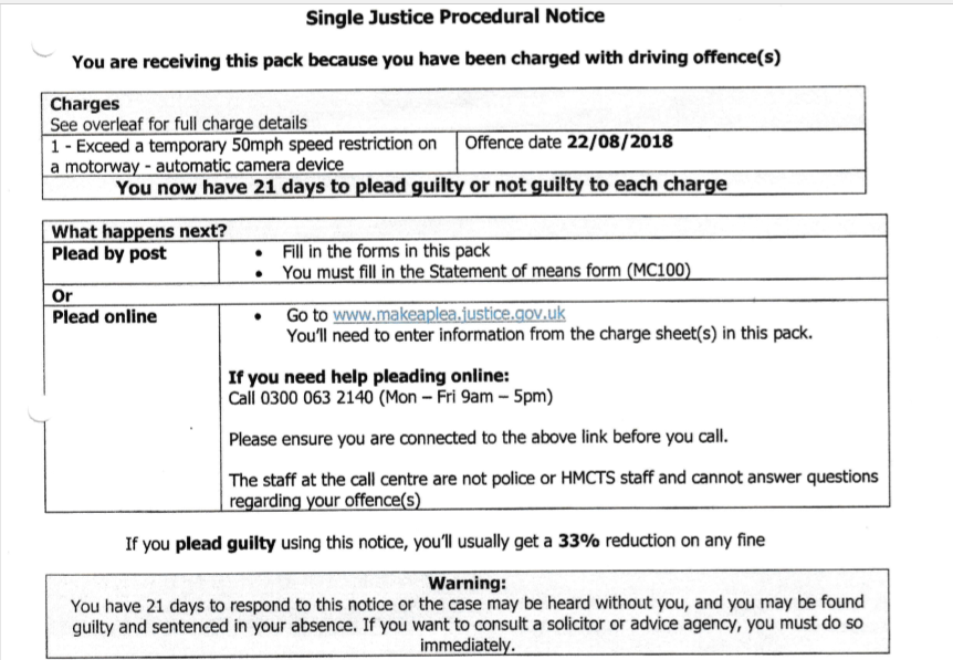 Have you received a Single Justice Procedural Notice for Speeding?
